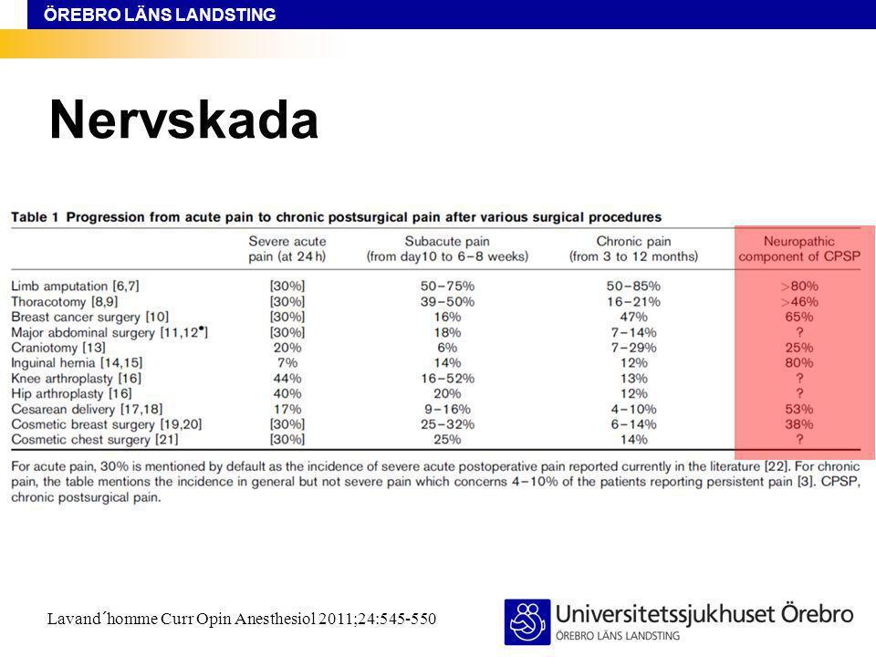 ÖREBRO LÄNS LANDSTING Nervskada Lavand´homme Curr Opin Anesthesiol 2011;24:545-550