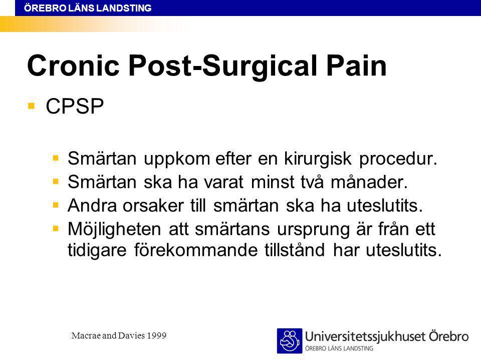 ÖREBRO LÄNS LANDSTING Cronic Post-Surgical Pain  CPSP  Smärtan uppkom efter en kirurgisk procedur.