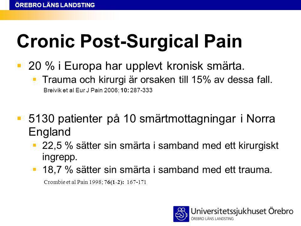 ÖREBRO LÄNS LANDSTING Cronic Post-Surgical Pain  20 % i Europa har upplevt kronisk smärta.