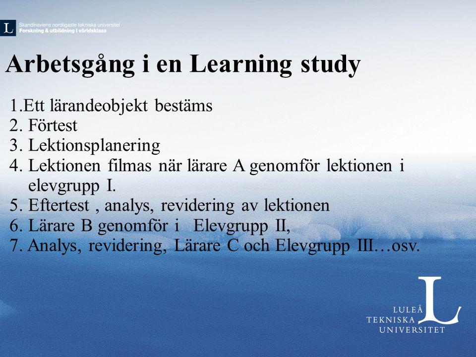 Arbetsgång i en Learning study 1.Ett lärandeobjekt bestäms 2.