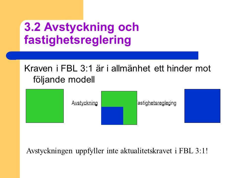 3.2 Avstyckning och fastighetsreglering Kraven i FBL 3:1 är i allmänhet ett hinder mot följande modell Avstyckning Fastighetsreglering Avstyckningen uppfyller inte aktualitetskravet i FBL 3:1!