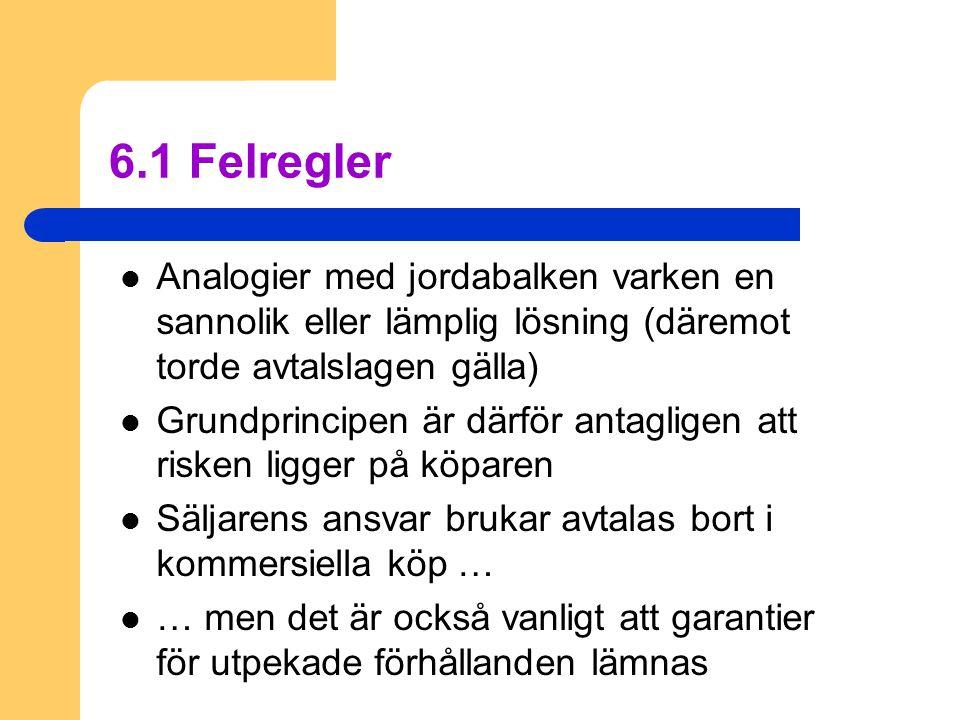 6.1 Felregler  Analogier med jordabalken varken en sannolik eller lämplig lösning (däremot torde avtalslagen gälla)  Grundprincipen är därför antagl