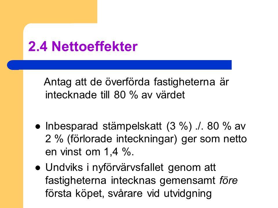 2.4 Nettoeffekter Antag att de överförda fastigheterna är intecknade till 80 % av värdet  Inbesparad stämpelskatt (3 %)./. 80 % av 2 % (förlorade int
