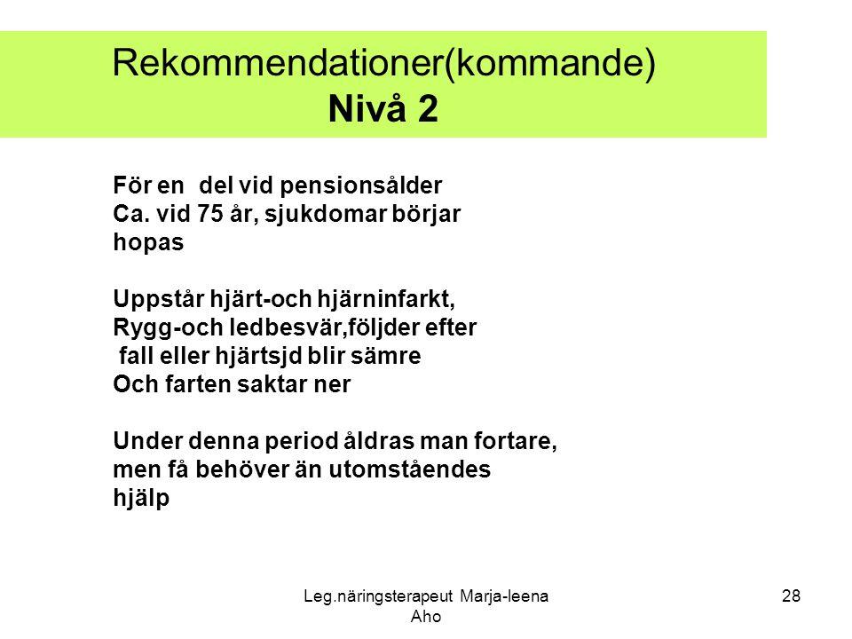 Leg.näringsterapeut Marja-leena Aho 28 Rekommendationer(kommande) Nivå 2 För en del vid pensionsålder Ca. vid 75 år, sjukdomar börjar hopas Uppstår hj