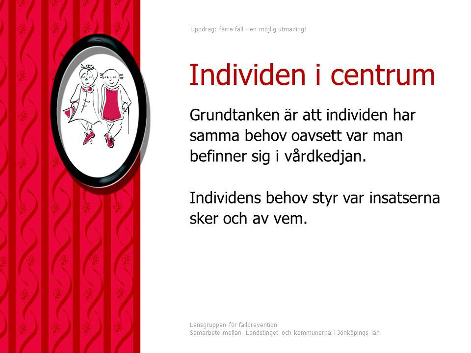 Uppdrag: färre fall - en möjlig utmaning! Länsgruppen för fallprevention Samarbete mellan Landstinget och kommunerna i Jönköpings län Grundtanken är a