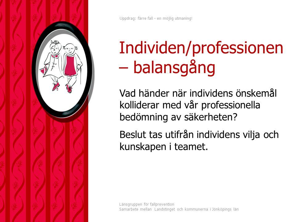 Uppdrag: färre fall - en möjlig utmaning! Länsgruppen för fallprevention Samarbete mellan Landstinget och kommunerna i Jönköpings län Vad händer när i