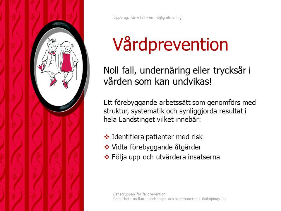 Uppdrag: färre fall - en möjlig utmaning! Länsgruppen för fallprevention Samarbete mellan Landstinget och kommunerna i Jönköpings län Noll fall, under