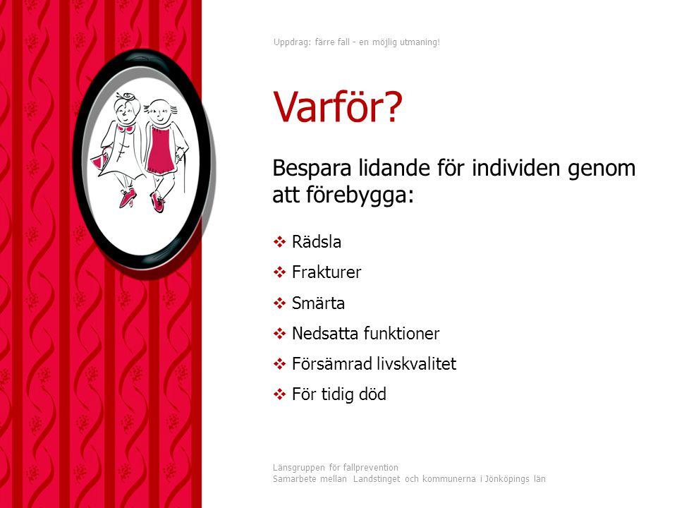 Uppdrag: färre fall - en möjlig utmaning! Länsgruppen för fallprevention Samarbete mellan Landstinget och kommunerna i Jönköpings län Bespara lidande