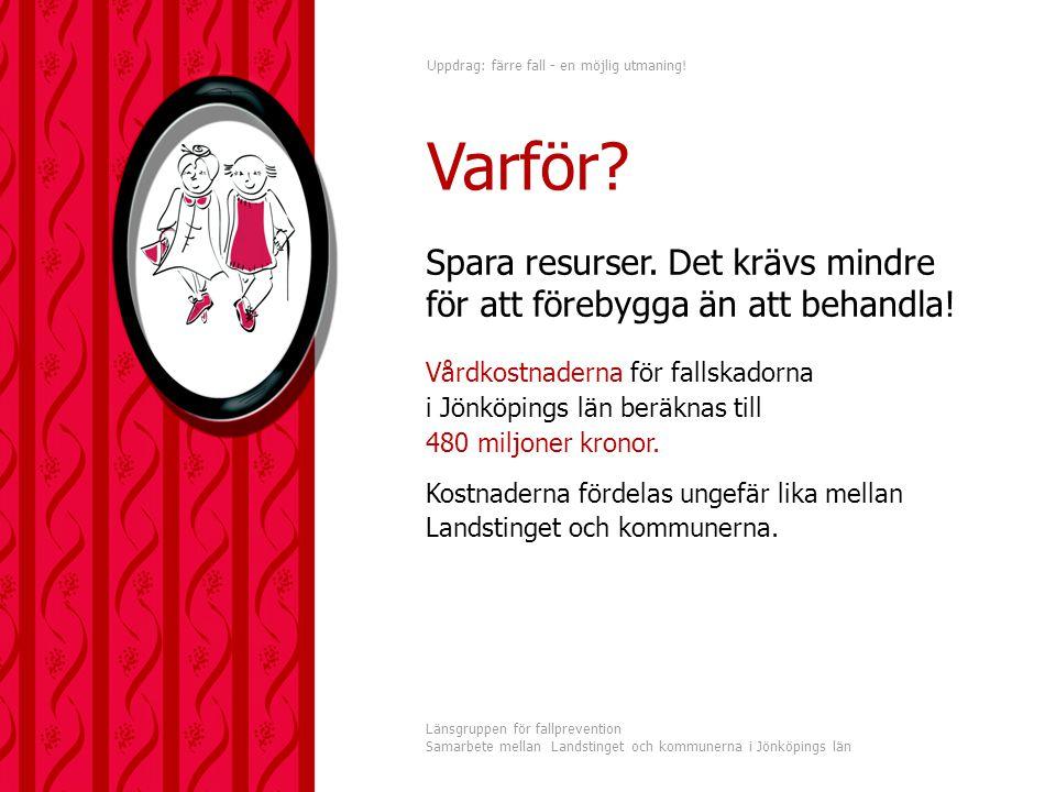 Uppdrag: färre fall - en möjlig utmaning! Länsgruppen för fallprevention Samarbete mellan Landstinget och kommunerna i Jönköpings län Spara resurser.