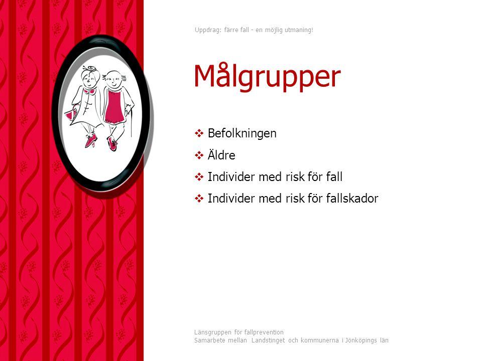 Uppdrag: färre fall - en möjlig utmaning! Länsgruppen för fallprevention Samarbete mellan Landstinget och kommunerna i Jönköpings län  Befolkningen 