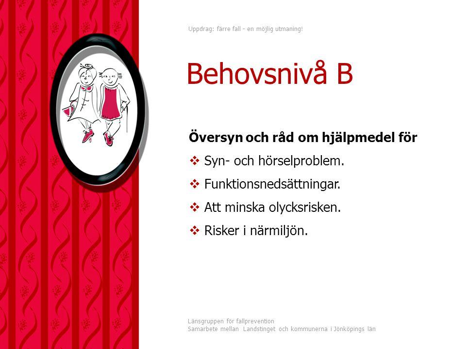 Uppdrag: färre fall - en möjlig utmaning! Länsgruppen för fallprevention Samarbete mellan Landstinget och kommunerna i Jönköpings län Behovsnivå B Öve