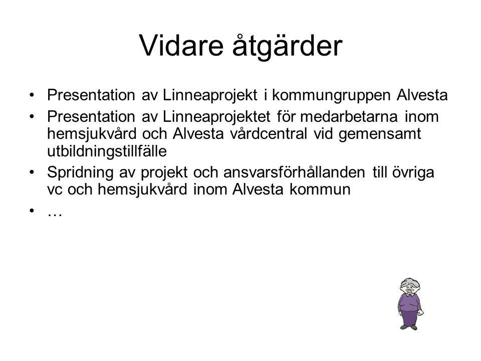 Vidare åtgärder •Presentation av Linneaprojekt i kommungruppen Alvesta •Presentation av Linneaprojektet för medarbetarna inom hemsjukvård och Alvesta