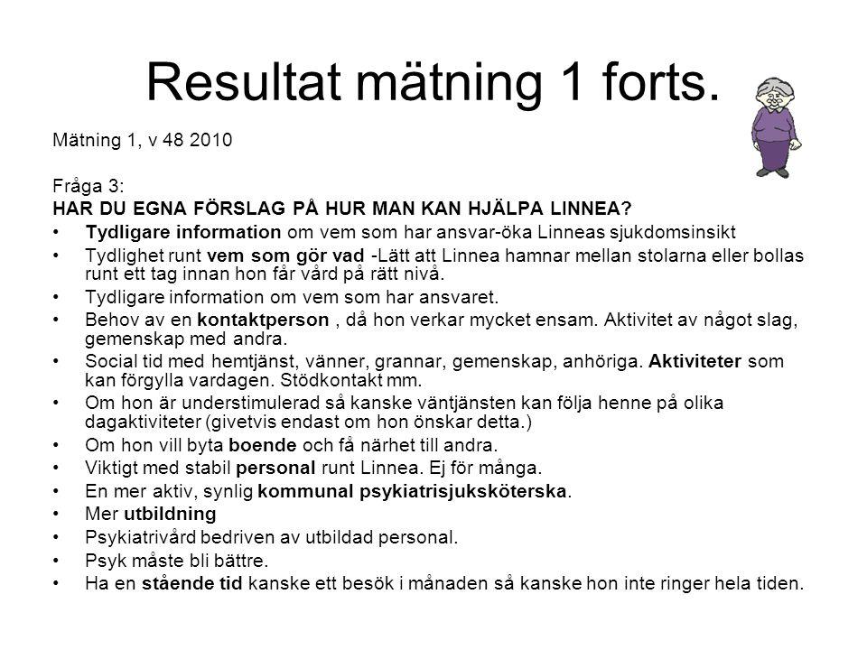 Resultat mätning 1 forts.Mätning 1, v 48 2010 Fråga 4: HAR DU NÅGOT LINNEA-FALL ATT BERÄTTA.