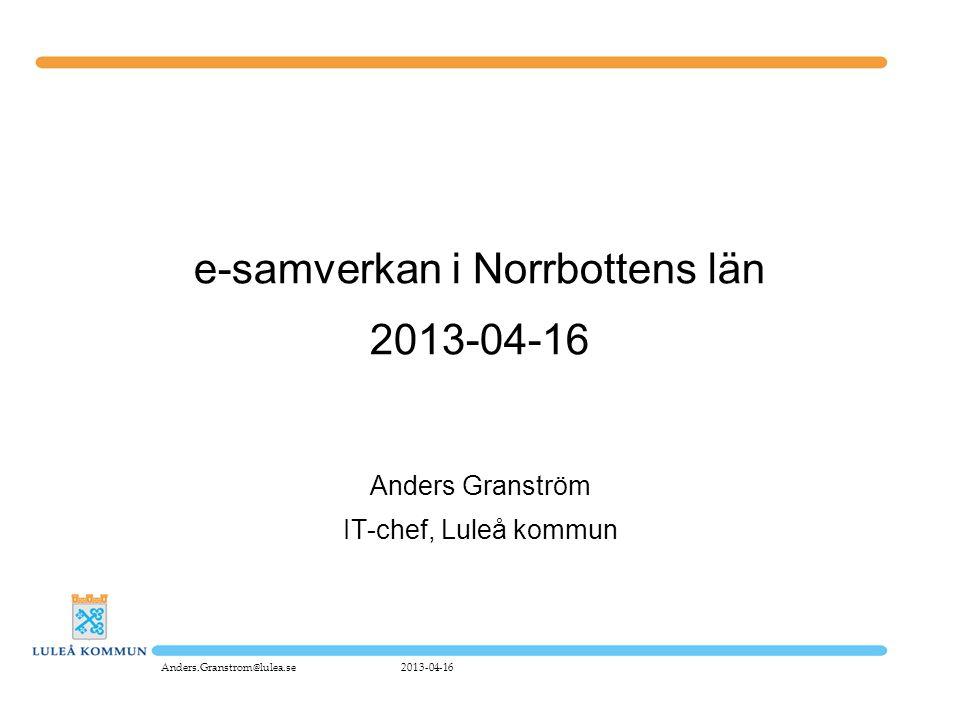 e-samverkan i Norrbottens län 2013-04-16 Anders Granström IT-chef, Luleå kommun 2013-04-16Anders.Granstrom@lulea.se