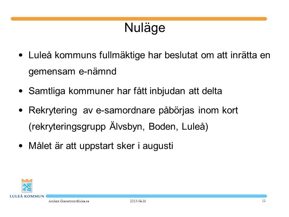 11 Nuläge • Luleå kommuns fullmäktige har beslutat om att inrätta en gemensam e-nämnd • Samtliga kommuner har fått inbjudan att delta • Rekrytering av