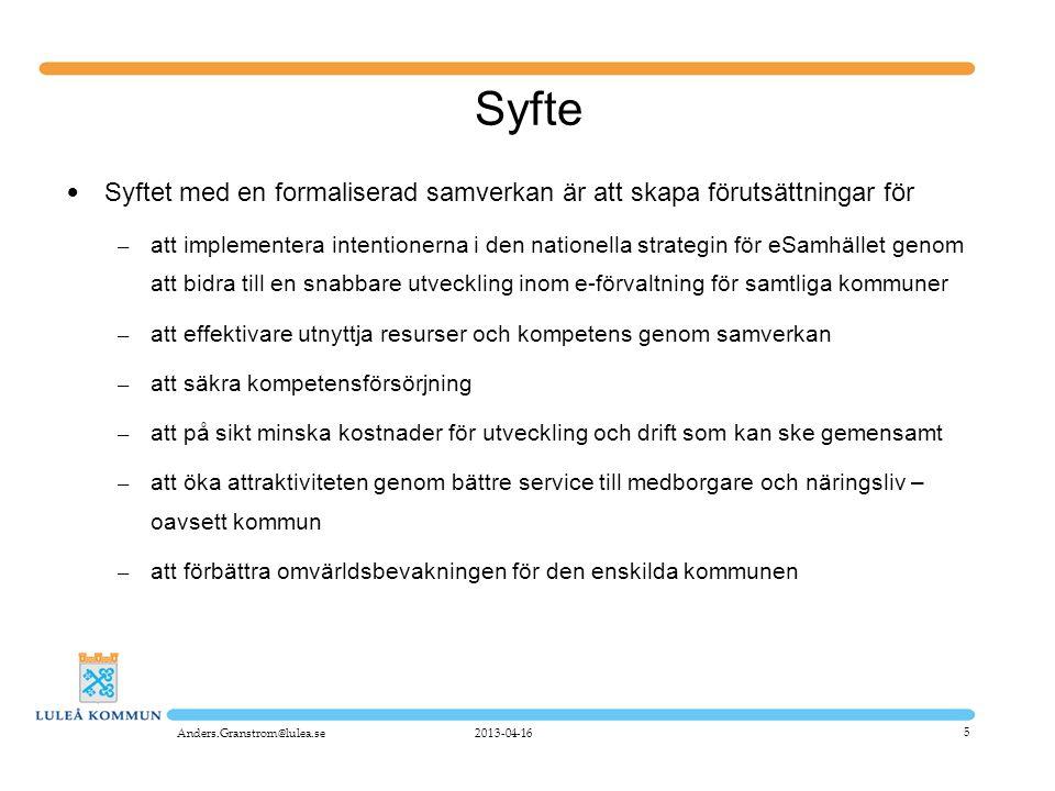 5 Syfte • Syftet med en formaliserad samverkan är att skapa förutsättningar för – att implementera intentionerna i den nationella strategin för eSamhä