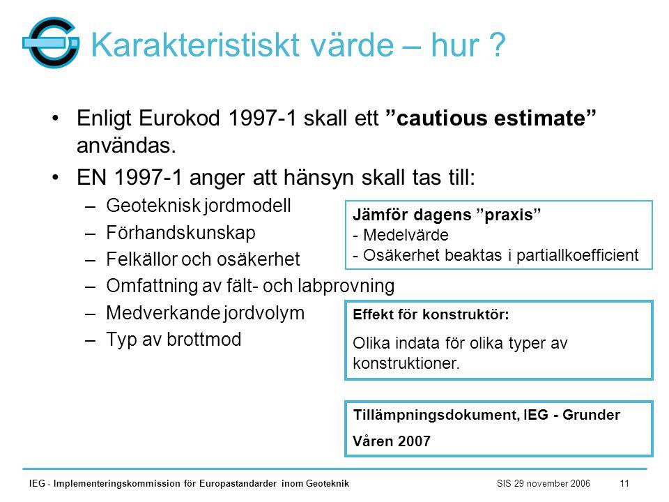 SIS 29 november 2006IEG - Implementeringskommission för Europastandarder inom Geoteknik11 Karakteristiskt värde – hur ? •Enligt Eurokod 1997-1 skall e