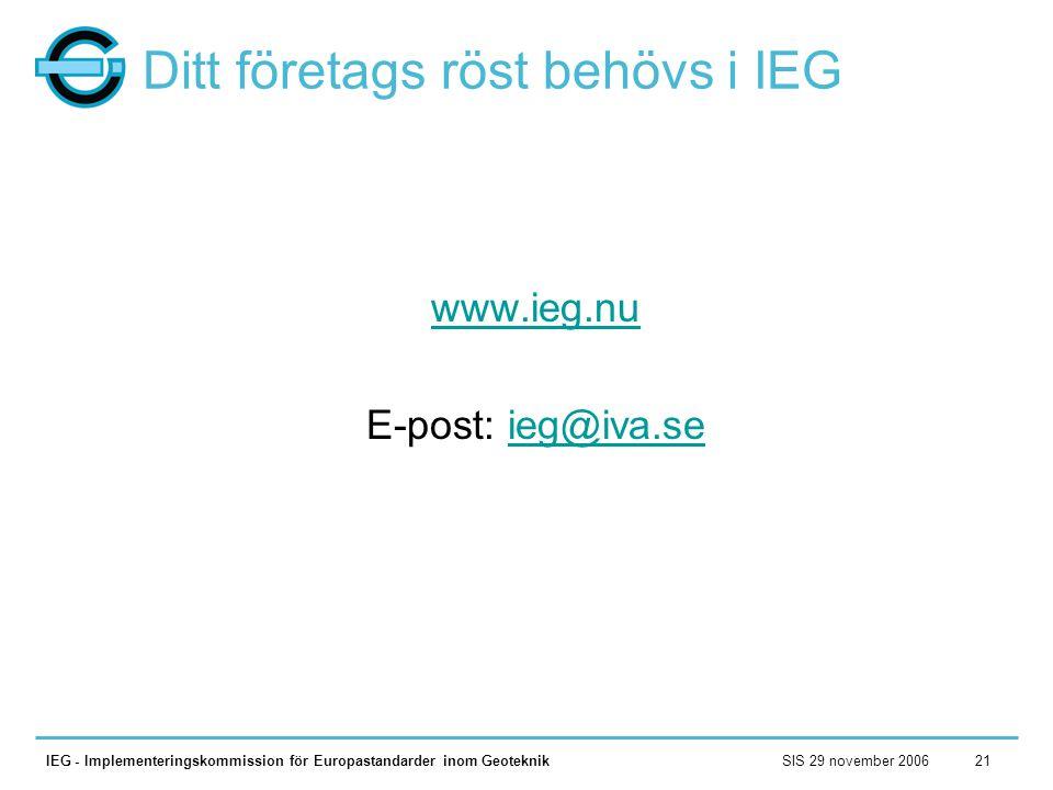 SIS 29 november 2006IEG - Implementeringskommission för Europastandarder inom Geoteknik21 Ditt företags röst behövs i IEG www.ieg.nu E-post: ieg@iva.s