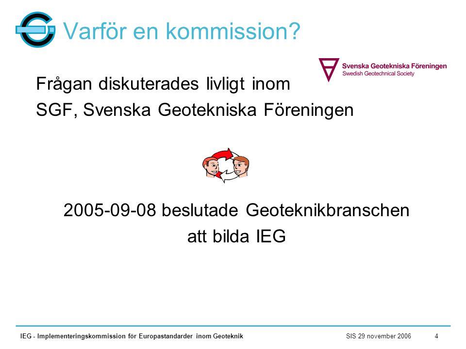 SIS 29 november 2006IEG - Implementeringskommission för Europastandarder inom Geoteknik4 Varför en kommission? Frågan diskuterades livligt inom SGF, S