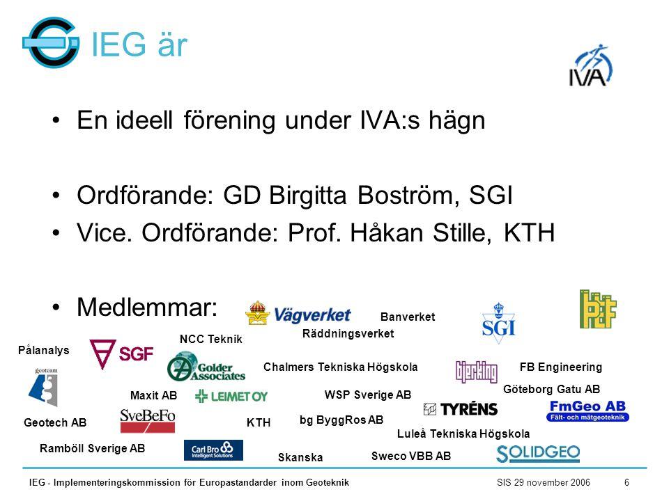 SIS 29 november 2006IEG - Implementeringskommission för Europastandarder inom Geoteknik6 IEG är •En ideell förening under IVA:s hägn •Ordförande: GD B