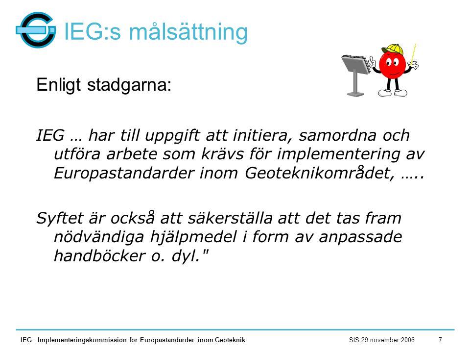 SIS 29 november 2006IEG - Implementeringskommission för Europastandarder inom Geoteknik7 IEG:s målsättning Enligt stadgarna: IEG … har till uppgift at