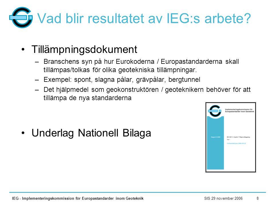 SIS 29 november 2006IEG - Implementeringskommission för Europastandarder inom Geoteknik8 Vad blir resultatet av IEG:s arbete? •Tillämpningsdokument –B