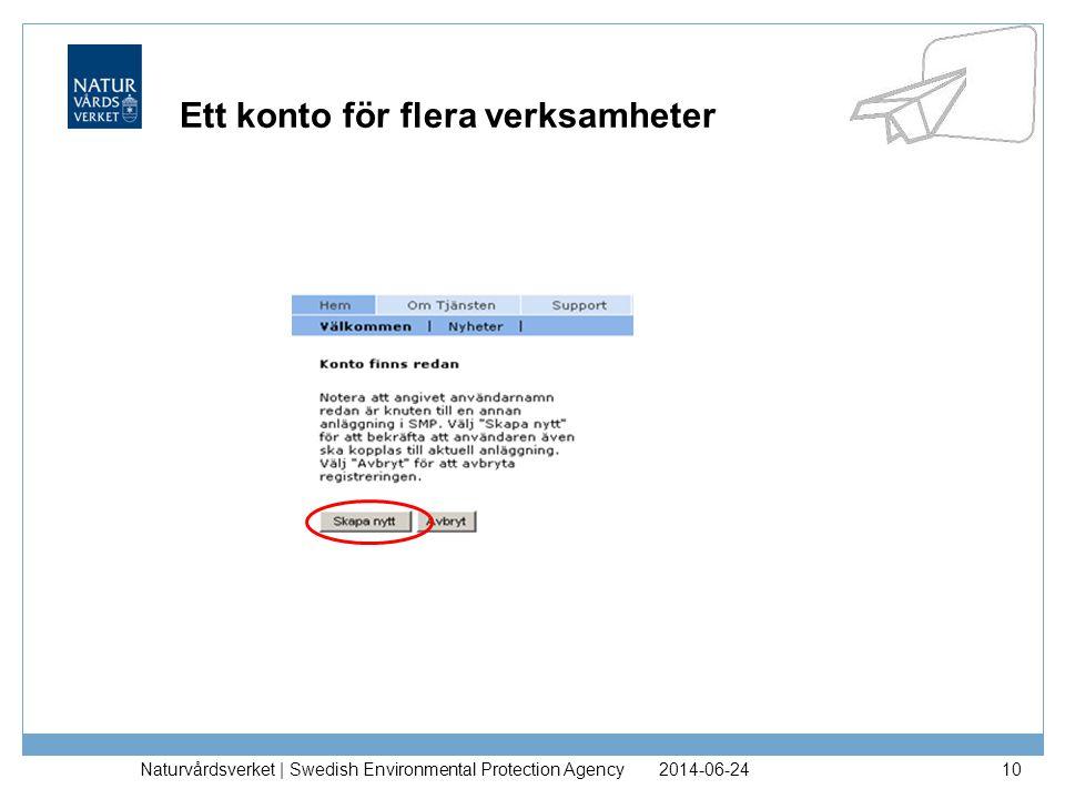 2014-06-24Naturvårdsverket | Swedish Environmental Protection Agency11 Ett konto för flera verksamheter
