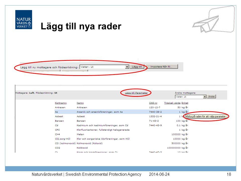 2014-06-24Naturvårdsverket | Swedish Environmental Protection Agency18 Lägg till nya rader