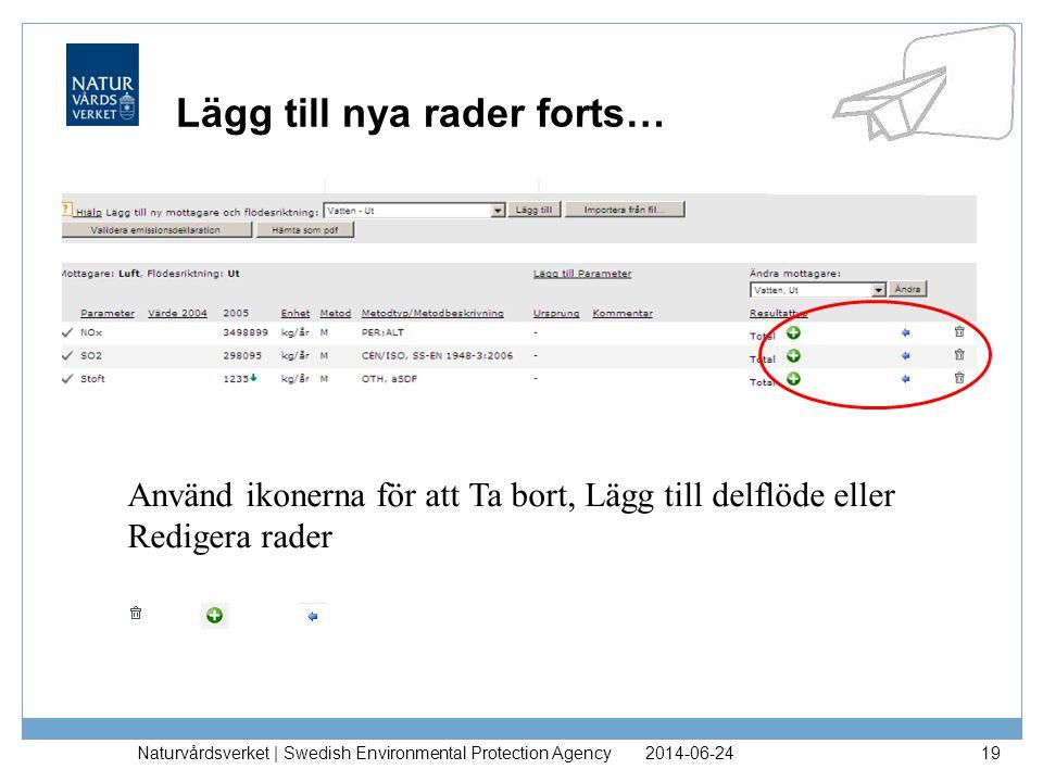2014-06-24Naturvårdsverket | Swedish Environmental Protection Agency19 Lägg till nya rader forts… Använd ikonerna för att Ta bort, Lägg till delflöde eller Redigera rader