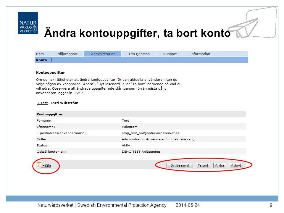 2014-06-24Naturvårdsverket | Swedish Environmental Protection Agency9 Ändra kontouppgifter, ta bort konto