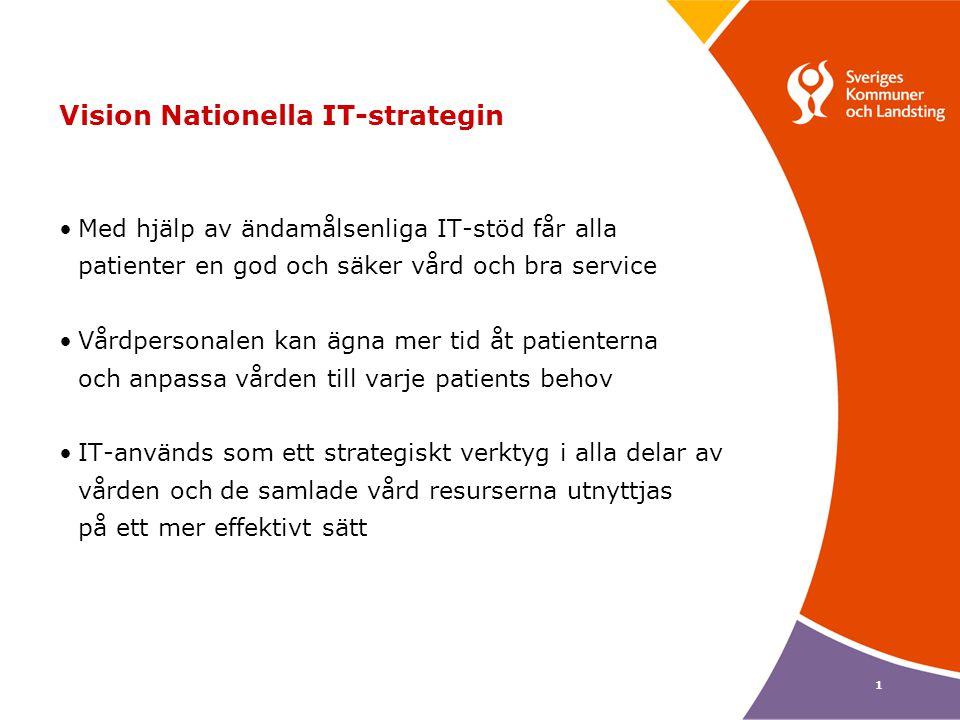 1 Vision Nationella IT-strategin •Med hjälp av ändamålsenliga IT-stöd får alla patienter en god och säker vård och bra service •Vårdpersonalen kan ägn
