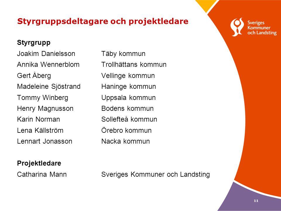 11 Styrgruppsdeltagare och projektledare Styrgrupp Joakim DanielssonTäby kommun Annika WennerblomTrollhättans kommun Gert ÅbergVellinge kommun Madelei