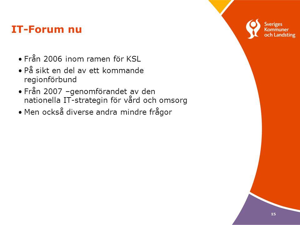 15 IT-Forum nu •Från 2006 inom ramen för KSL •På sikt en del av ett kommande regionförbund •Från 2007 –genomförandet av den nationella IT-strategin fö