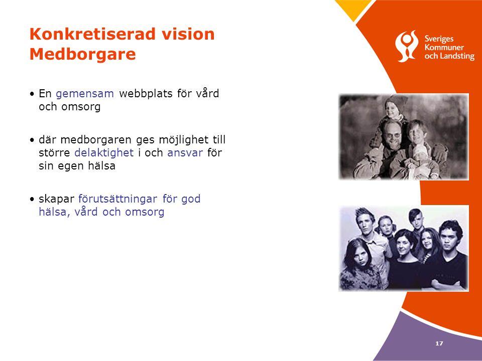 17 Konkretiserad vision Medborgare •En gemensam webbplats för vård och omsorg •där medborgaren ges möjlighet till större delaktighet i och ansvar för