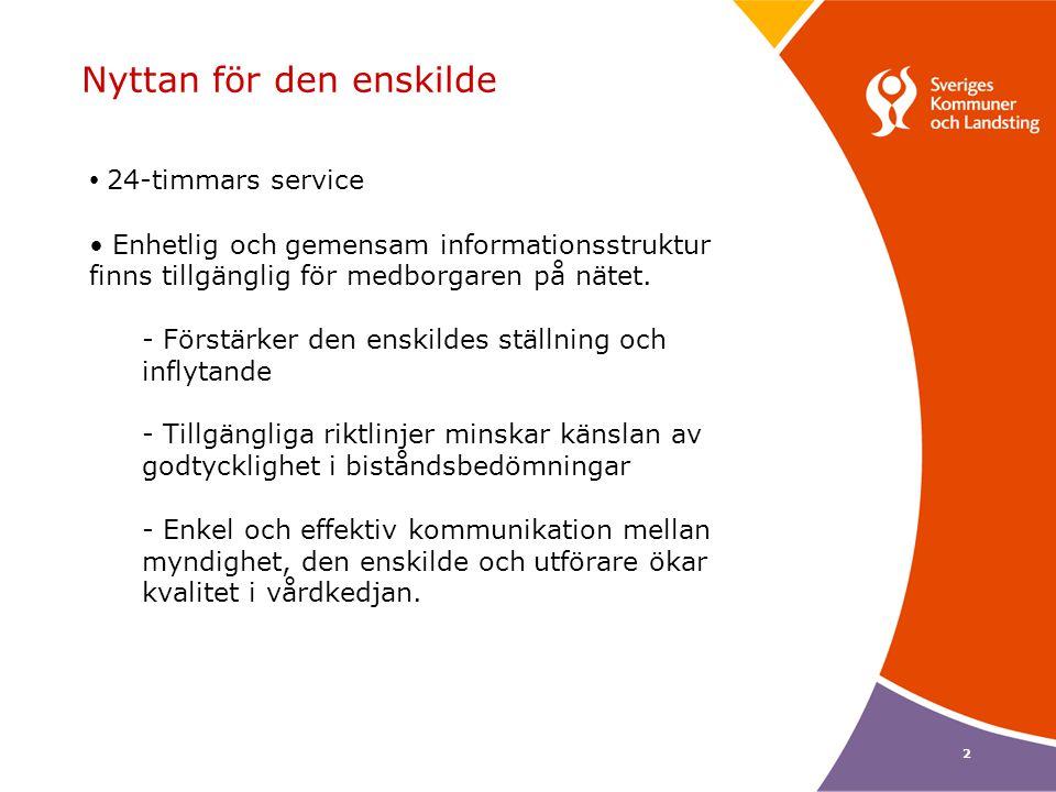 2 Nyttan för den enskilde • 24-timmars service • Enhetlig och gemensam informationsstruktur finns tillgänglig för medborgaren på nätet. - Förstärker d