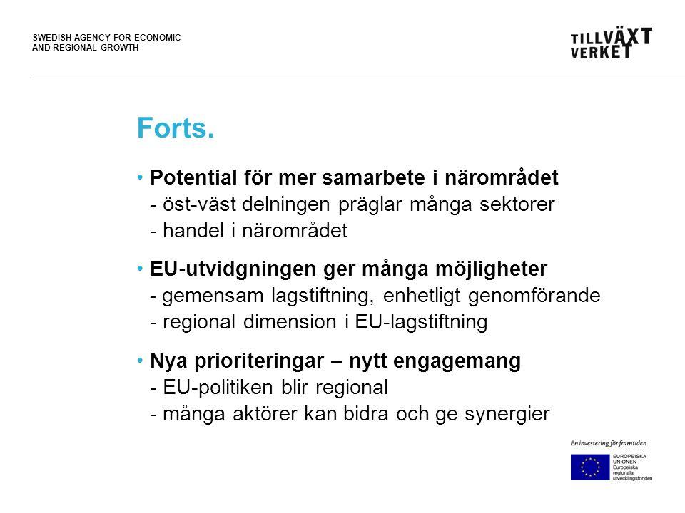 SWEDISH AGENCY FOR ECONOMIC AND REGIONAL GROWTH Makroregionala strategier EU Makroregional nivå Medlemsstatsnivå Regional nivå •Regional utvecklingsplaner •Strukturfondsprogrammen •EU 2020, en strategi för hållbar tillväxt, Sammanhållningspolitiken •Makroregionala strategier - Territoriell integration •Nationella planer •Nationella ramprogram
