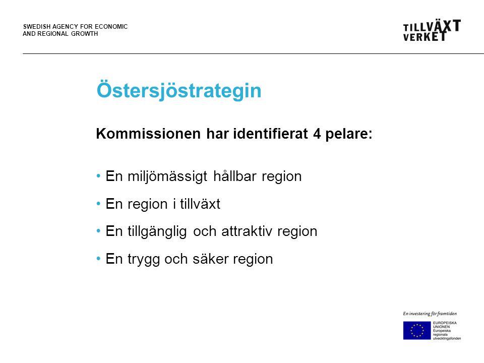 SWEDISH AGENCY FOR ECONOMIC AND REGIONAL GROWTH Strategin genomförs inom befintliga ramar •Inga nya regelverk (men bättre implementering) •Ingen ny finansiering (men koordinering mellan fonderna) •Inga nya institutioner (men bättre samarbete mellan nivåerna)
