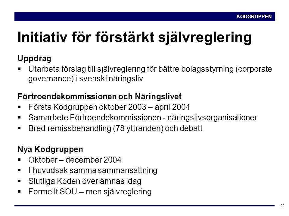 KODGRUPPEN 2 Initiativ för förstärkt självreglering Uppdrag  Utarbeta förslag till självreglering för bättre bolagsstyrning (corporate governance) i