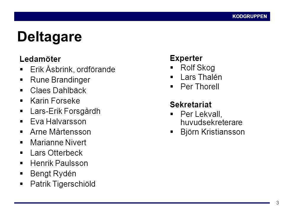 KODGRUPPEN 3 Deltagare Ledamöter  Erik Åsbrink, ordförande  Rune Brandinger  Claes Dahlbäck  Karin Forseke  Lars-Erik Forsgårdh  Eva Halvarsson