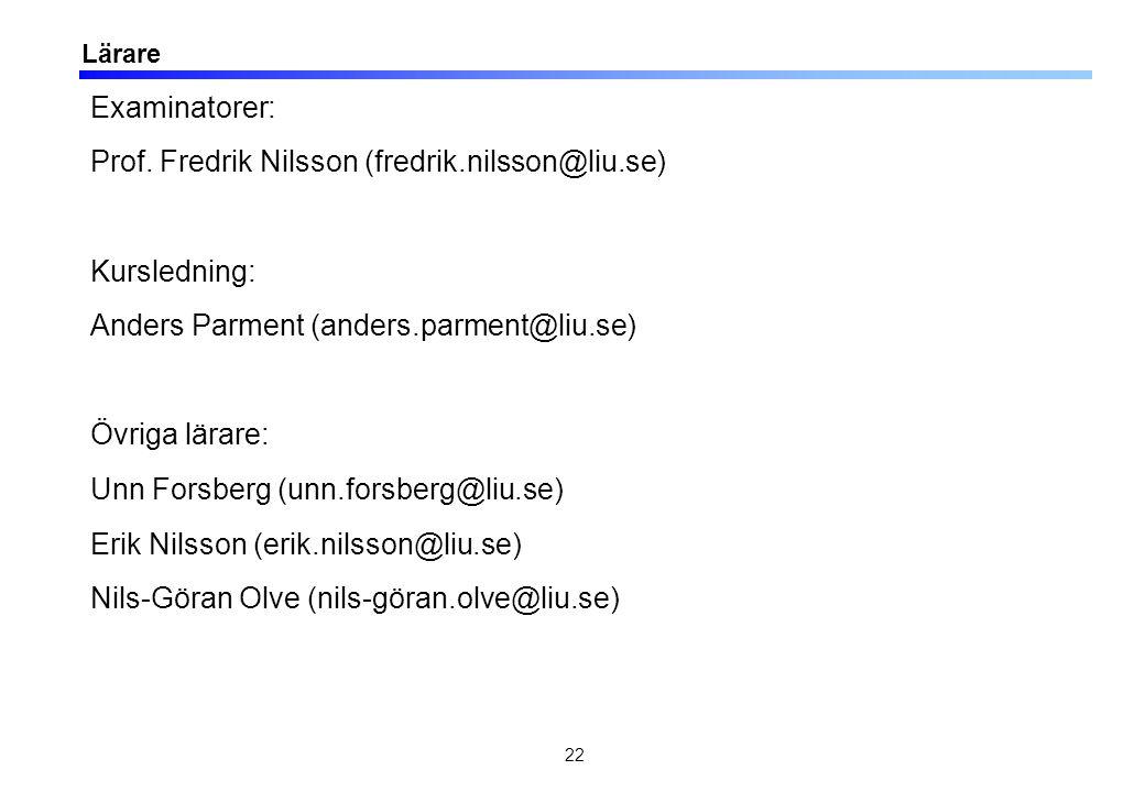 22 Lärare Examinatorer: Prof. Fredrik Nilsson (fredrik.nilsson@liu.se) Kursledning: Anders Parment (anders.parment@liu.se) Övriga lärare: Unn Forsberg