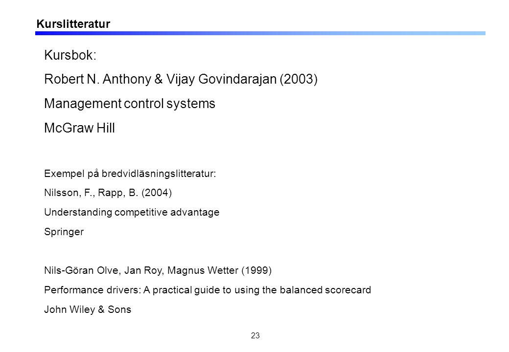 23 Kurslitteratur Kursbok: Robert N. Anthony & Vijay Govindarajan (2003) Management control systems McGraw Hill Exempel på bredvidläsningslitteratur: