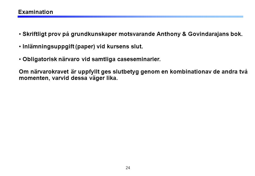 24 Examination • Skriftligt prov på grundkunskaper motsvarande Anthony & Govindarajans bok. • Inlämningsuppgift (paper) vid kursens slut. • Obligatori