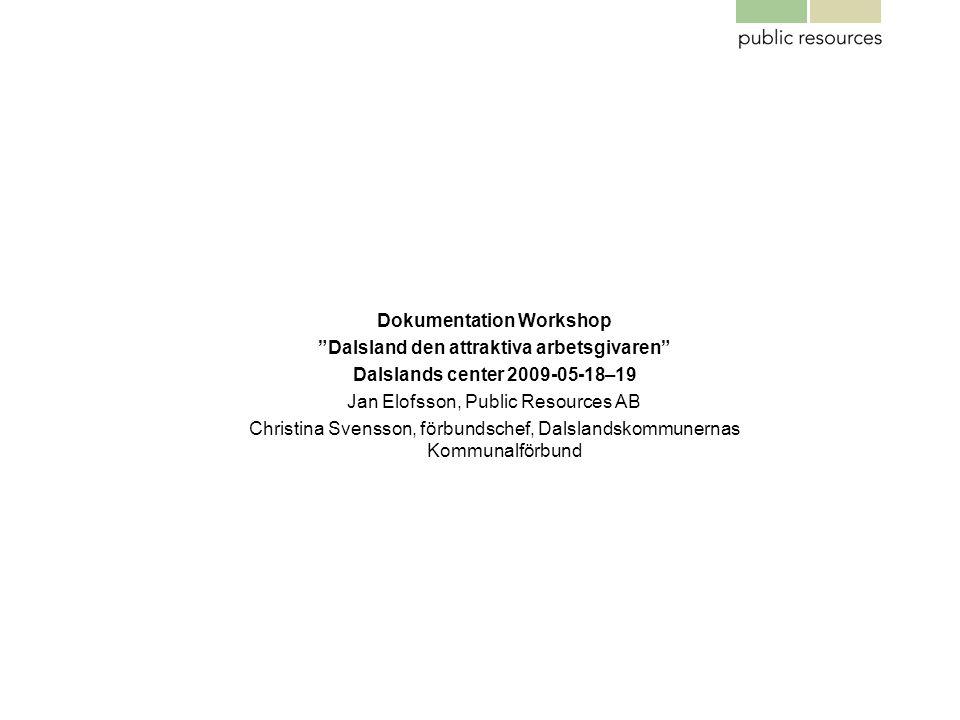 """Dokumentation Workshop """"Dalsland den attraktiva arbetsgivaren"""" Dalslands center 2009-05-18–19 Jan Elofsson, Public Resources AB Christina Svensson, fö"""