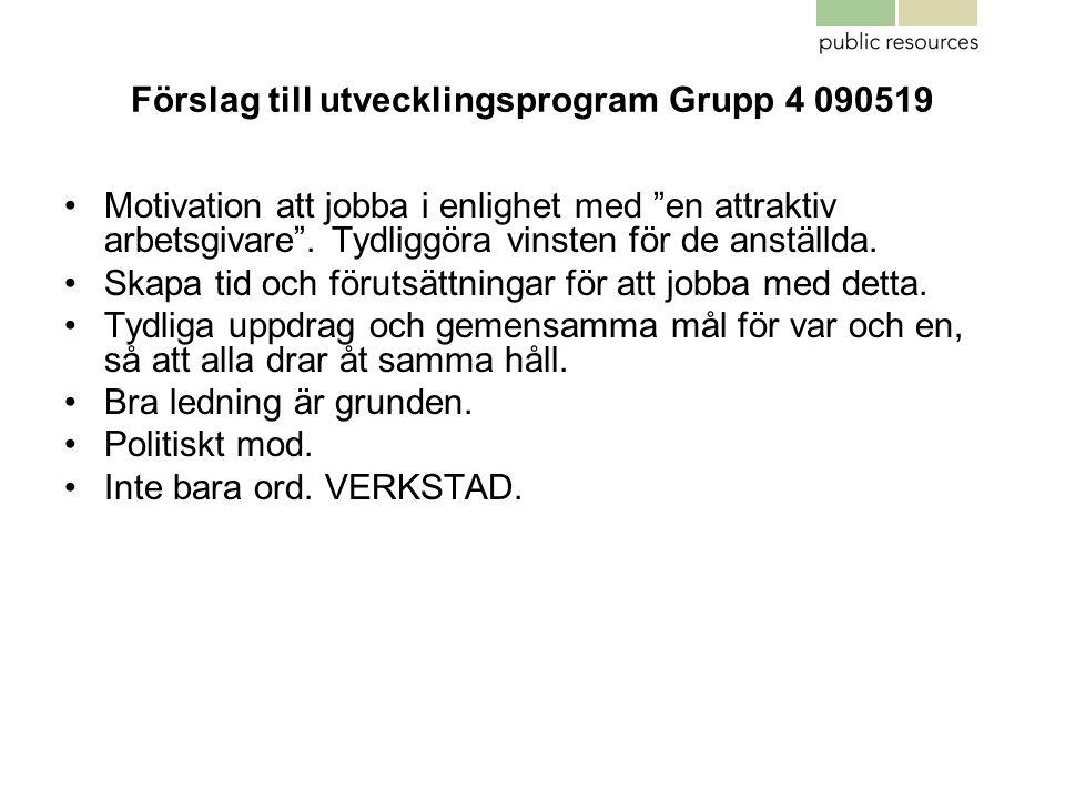 """Förslag till utvecklingsprogram Grupp 4 090519 •Motivation att jobba i enlighet med """"en attraktiv arbetsgivare"""". Tydliggöra vinsten för de anställda."""