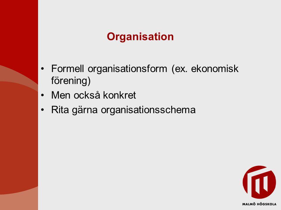 Organisation •Formell organisationsform (ex. ekonomisk förening) •Men också konkret •Rita gärna organisationsschema