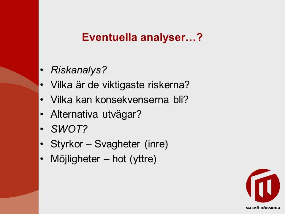 Eventuella analyser…? •Riskanalys? •Vilka är de viktigaste riskerna? •Vilka kan konsekvenserna bli? •Alternativa utvägar? •SWOT? •Styrkor – Svagheter