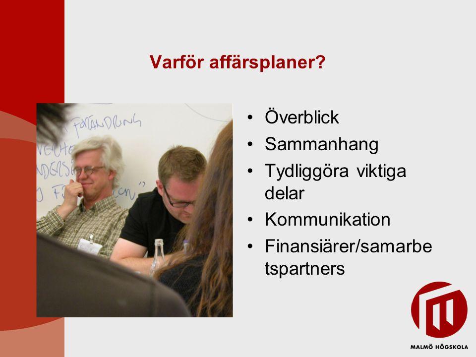 Varför affärsplaner? •Överblick •Sammanhang •Tydliggöra viktiga delar •Kommunikation •Finansiärer/samarbe tspartners