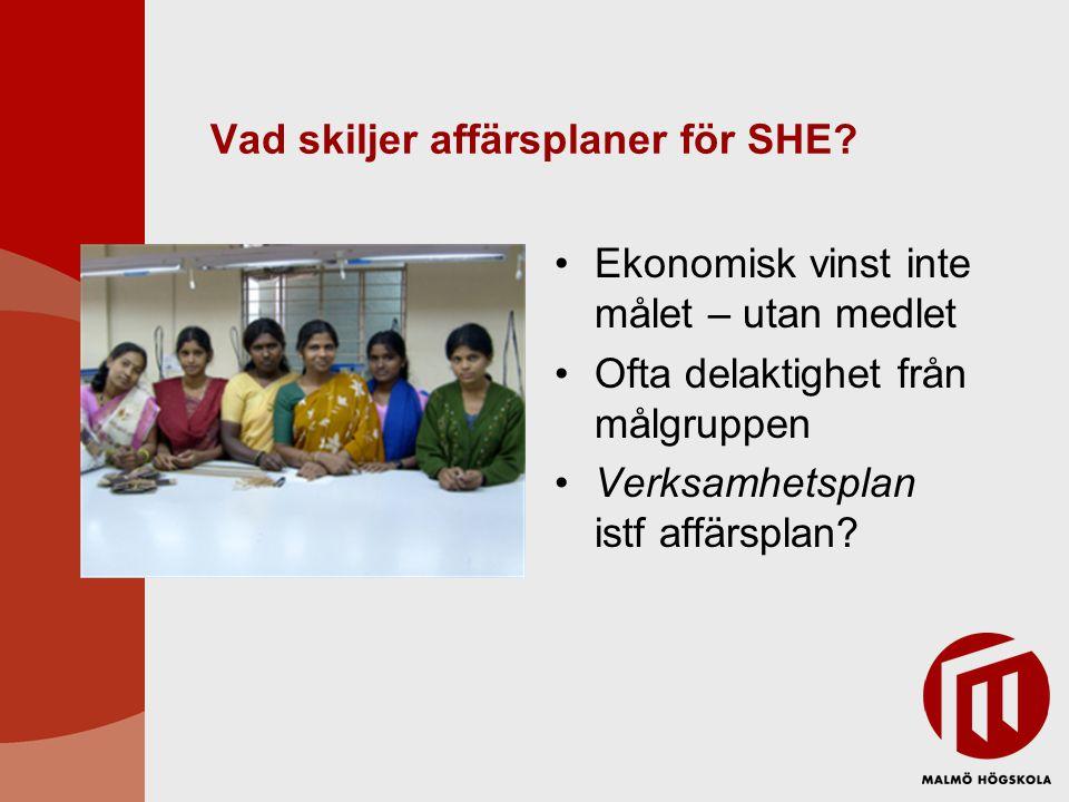 Vad skiljer affärsplaner för SHE? •Ekonomisk vinst inte målet – utan medlet •Ofta delaktighet från målgruppen •Verksamhetsplan istf affärsplan?