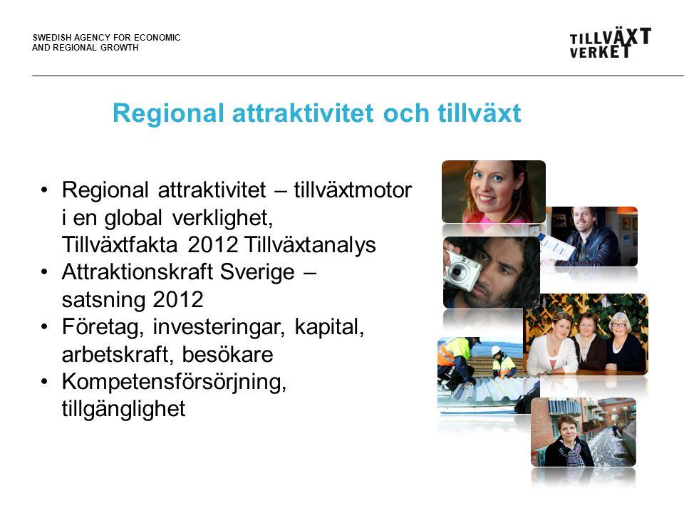 SWEDISH AGENCY FOR ECONOMIC AND REGIONAL GROWTH Regional attraktivitet och tillväxt •Regional attraktivitet – tillväxtmotor i en global verklighet, Ti