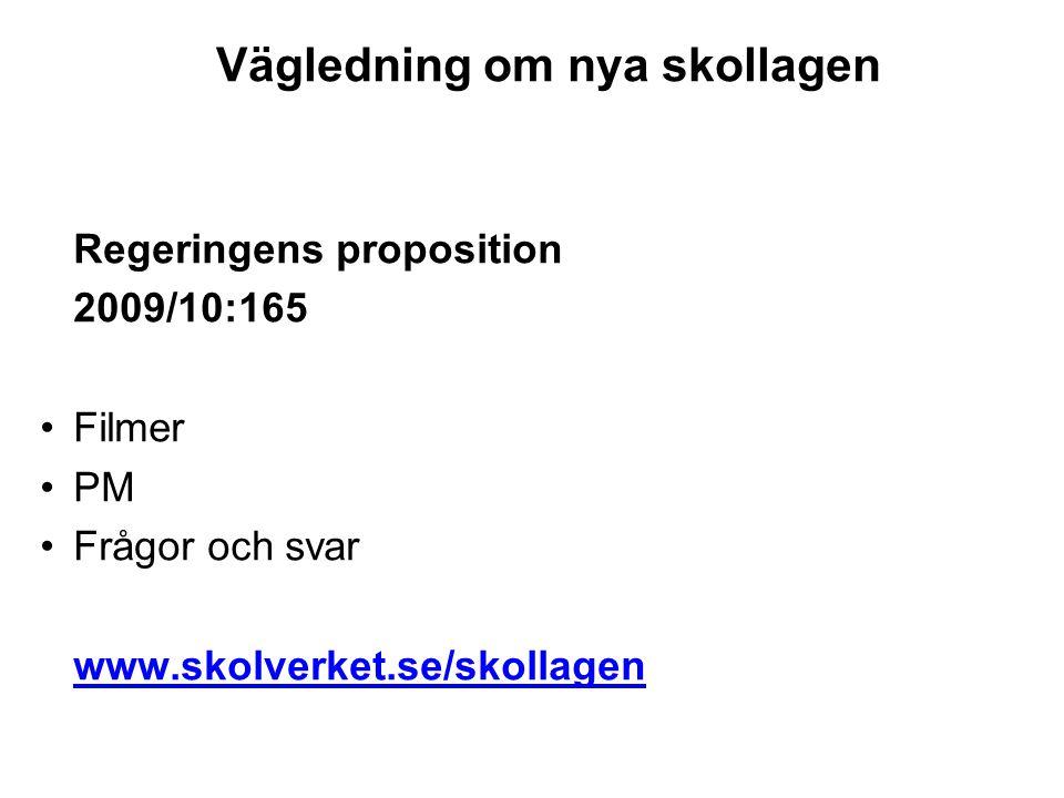 Vägledning om nya skollagen Regeringens proposition 2009/10:165 •Filmer •PM •Frågor och svar www.skolverket.se/skollagen